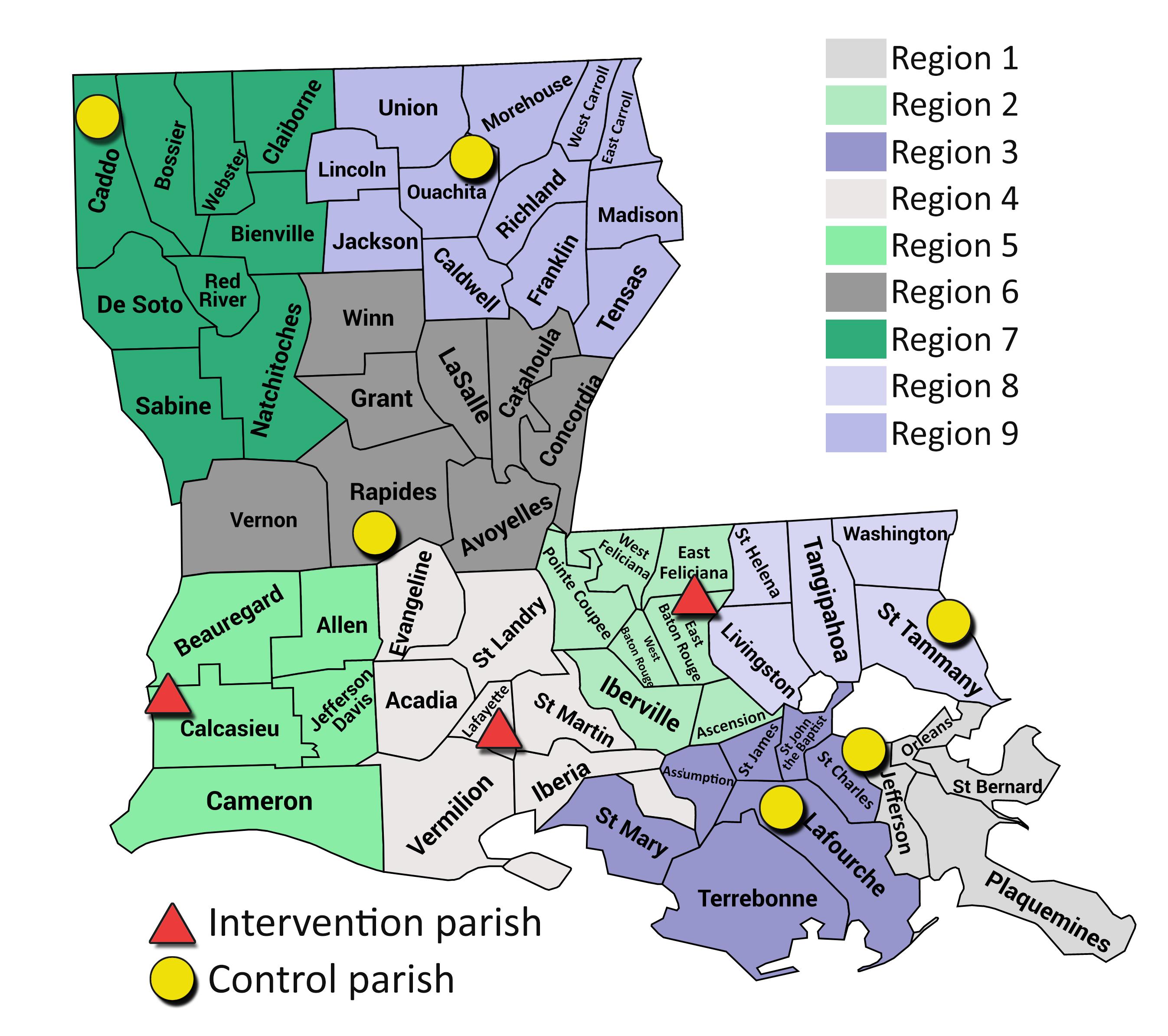 Map of Louisiana parishes