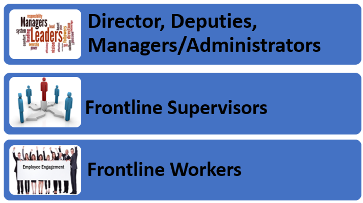 Director, Deputies, Managers/Administrators, Frontline Supervisors, Frontline Workers
