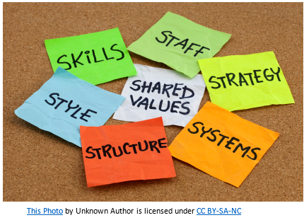 Post Its scattered on table containing the following words: Skills, Staff, Shared Values, Strategy, Systems, Structure, Style