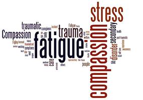 Word cloud containing the words stress, fatigue, trauma, etc.