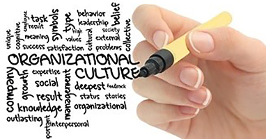 Hand writing the words organizational culture